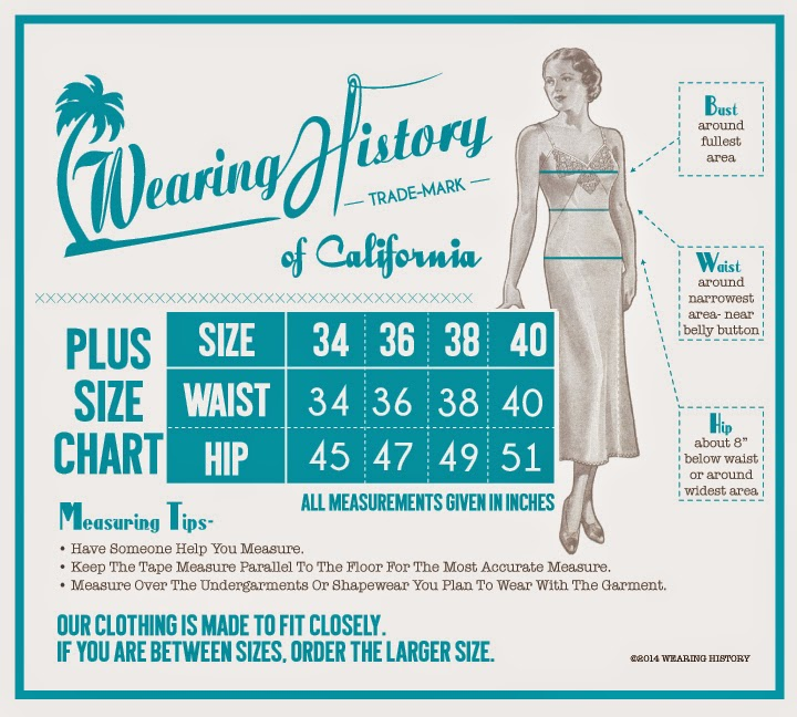 wearing history clothing plus size sizing chart