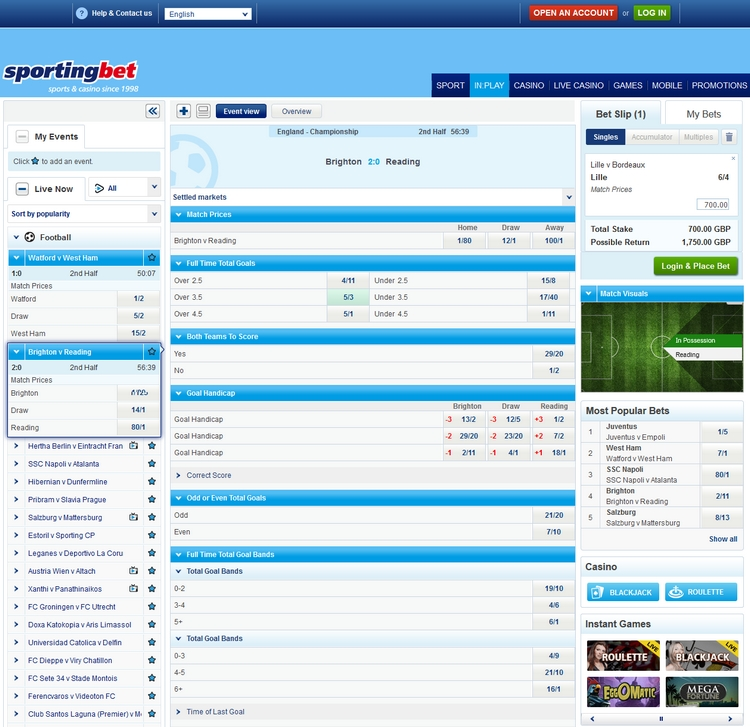 Sportingbet Live Betting Offers
