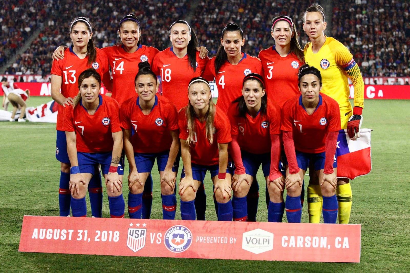 Formación de selección femenina de Chile ante Estados Unidos, amistoso disputado el 1 de septiembre de 2018