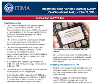 "a nationwide test of the Emergency Alert System and the Wireless Emergency Arts on Wednesday, Oct. 3"" at 2:18 PM"