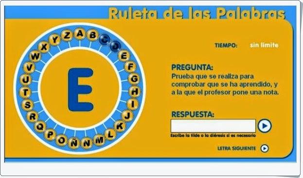 """""""La ruleta de las palabras"""" (Juego de Lengua Española de Primaria)"""