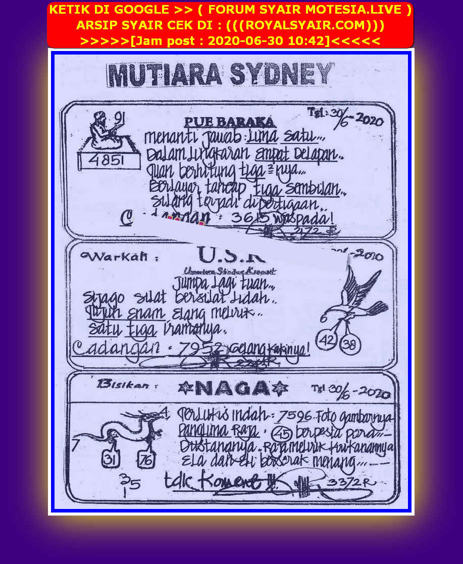 Kode syair Sydney Selasa 30 Juni 2020 44