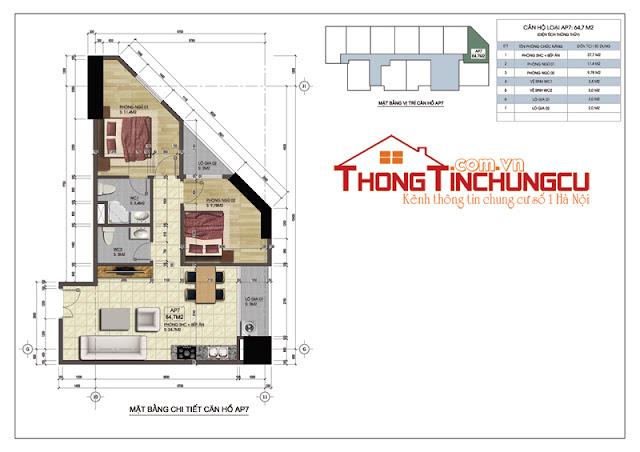 Thiết kế căn góc số 7A – Căn hộ số 7 tòa A vị trí góc dự án Central Field MBLand 219 Trung Kính – diện tích 64.7m2.