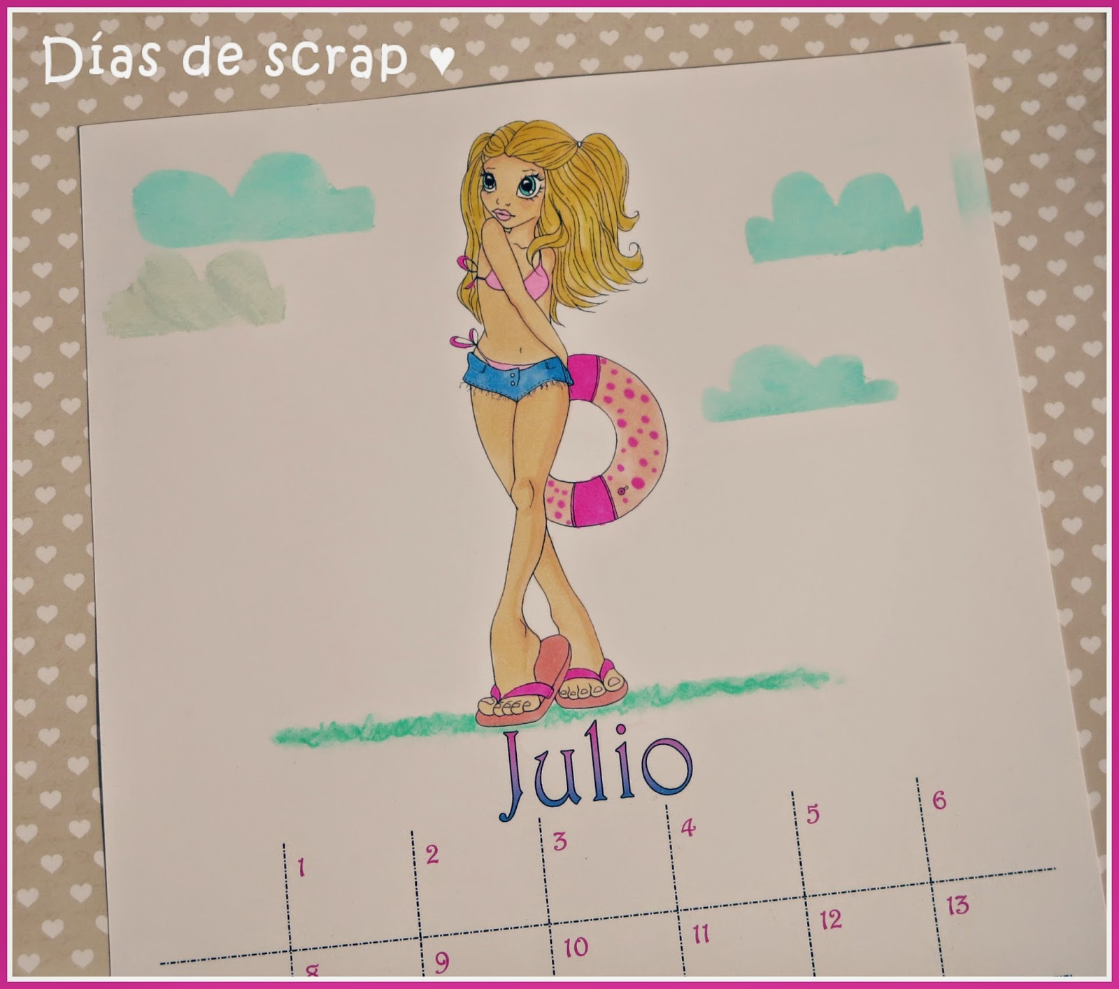 scrap Calendario mes de julio Saturated Canary