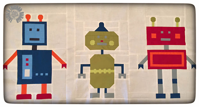 Robots All In A Row Quilt by Thistle Thicket Studio. www.thistlethicketstudio.com
