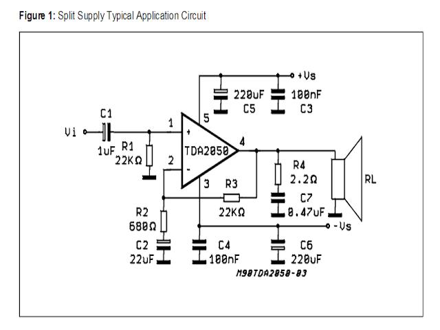 amplifier split power supply