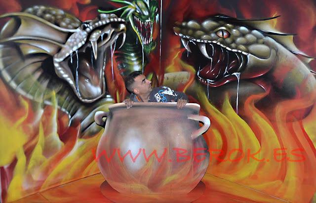graffitis 3d olla fuego con serpientes