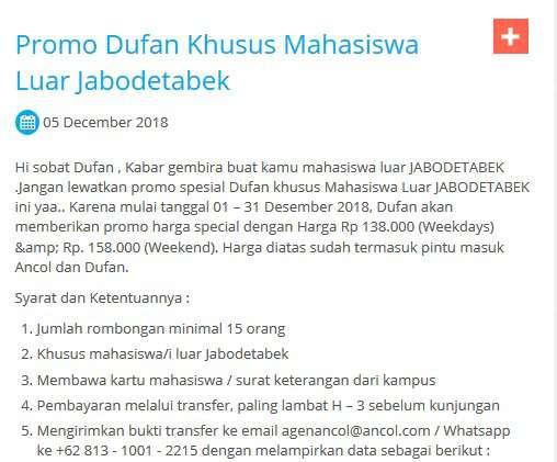 Promo Harga Tiket Dufan Terbaru Januari 2019