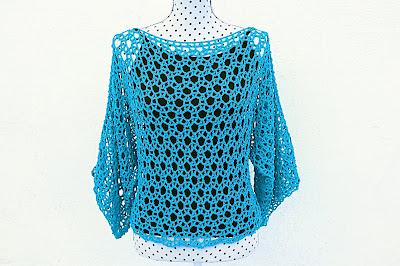 Blusa azul Majovel Crochet ganchillo