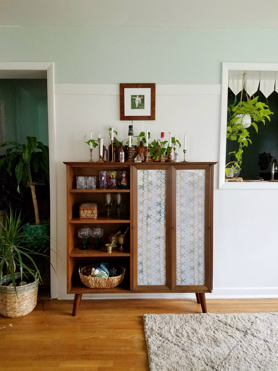 Repurposed China Cabinet Hutch To Bar Cabinet The Boho Abode