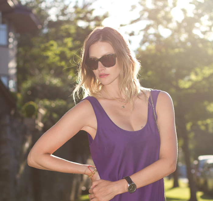 Vancouver Fashion Blogger, Alison Hutchinson, keeping cool on a hot summer day in and Urban Outfitters purple dress, H&M Sandals, Sass & Bide Sunglasses, H&M Bag, Stella and dot jewelry