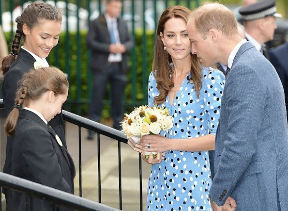 Kate Middleton wore Altuzurra Aimee Polka-dot Button-front Dress, LK Bennett Fern Pump and Clutch