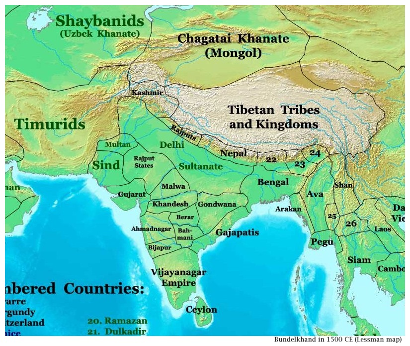 Thomas Lessman map of India, 1500 CE
