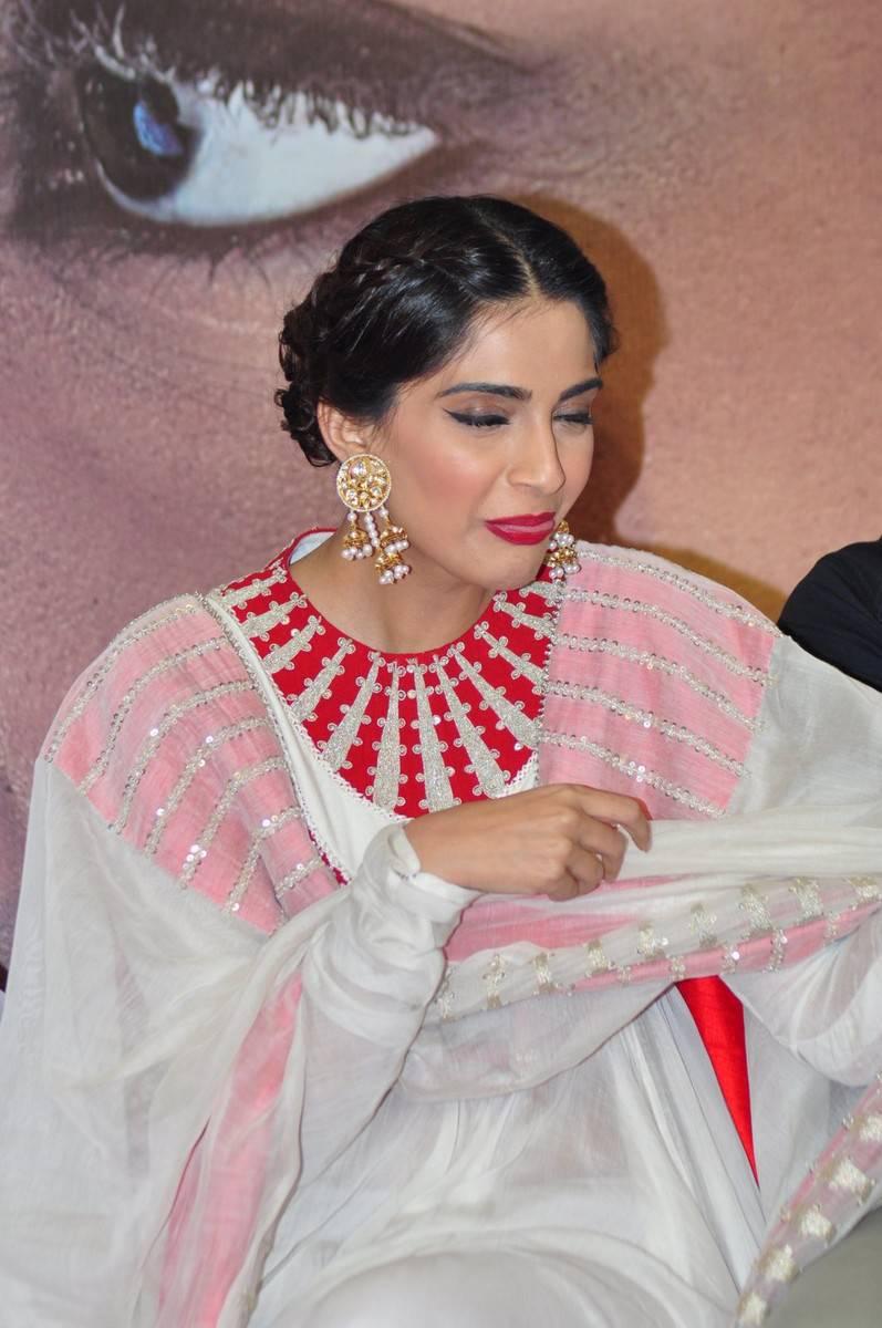 Sonam Kapoor Smiling Stills In White Dress