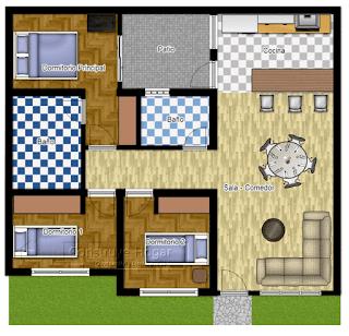 Koleksi Denah Rumah Minimalis 3 Kamar Tidur