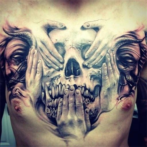 Crânio de tatuagem para homens no peito