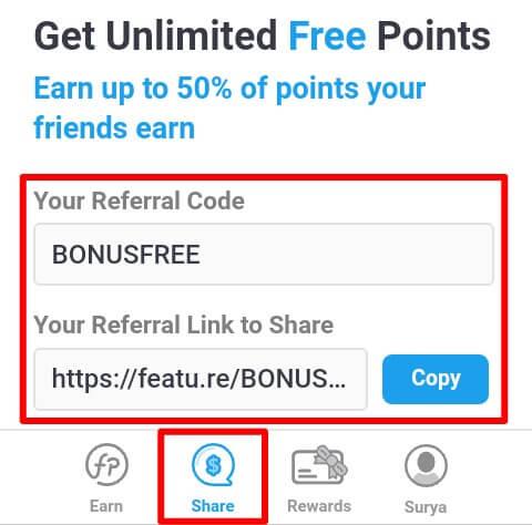 """Undanglah teman Anda menggunakan link atau kode refferal dan Anda akan memperoleh 50% dari penghasilan teman yang berhasil Anda ajak. Anda dapat mengundang teman pada menu """"Share""""."""