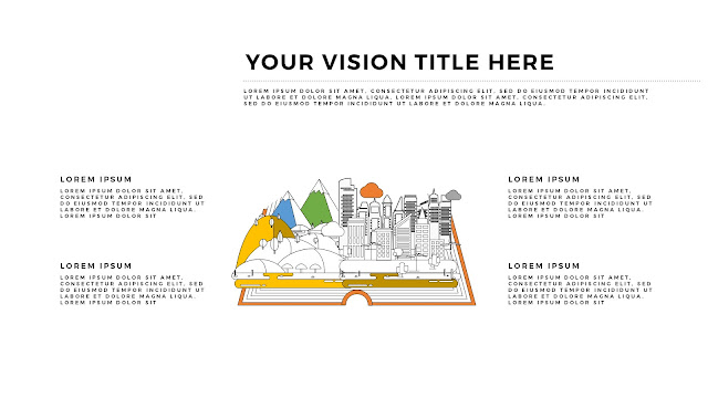 Free Infographic Books and Vision PowerPoint Template with Cities and Mountatins