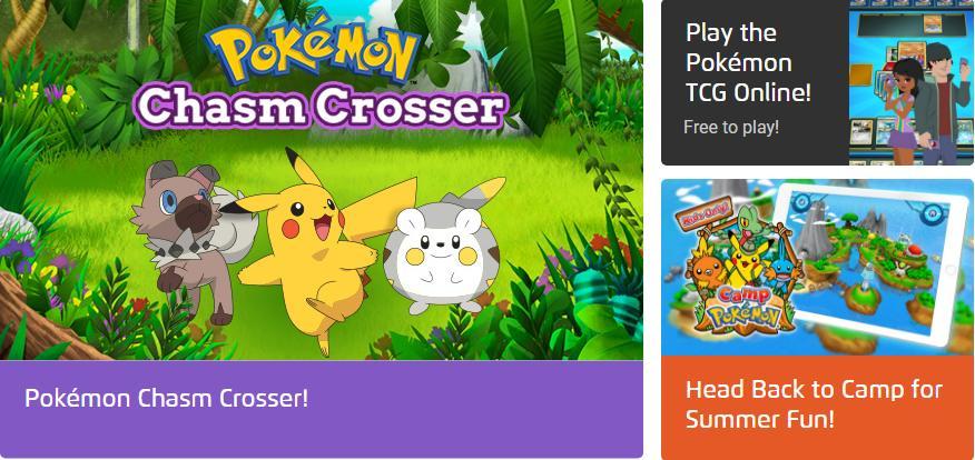 إستمتع بتجرية ألعاب لشخصيات مسلسل ال Pokemon علي الموقع الرسمي Online HTML5 Games