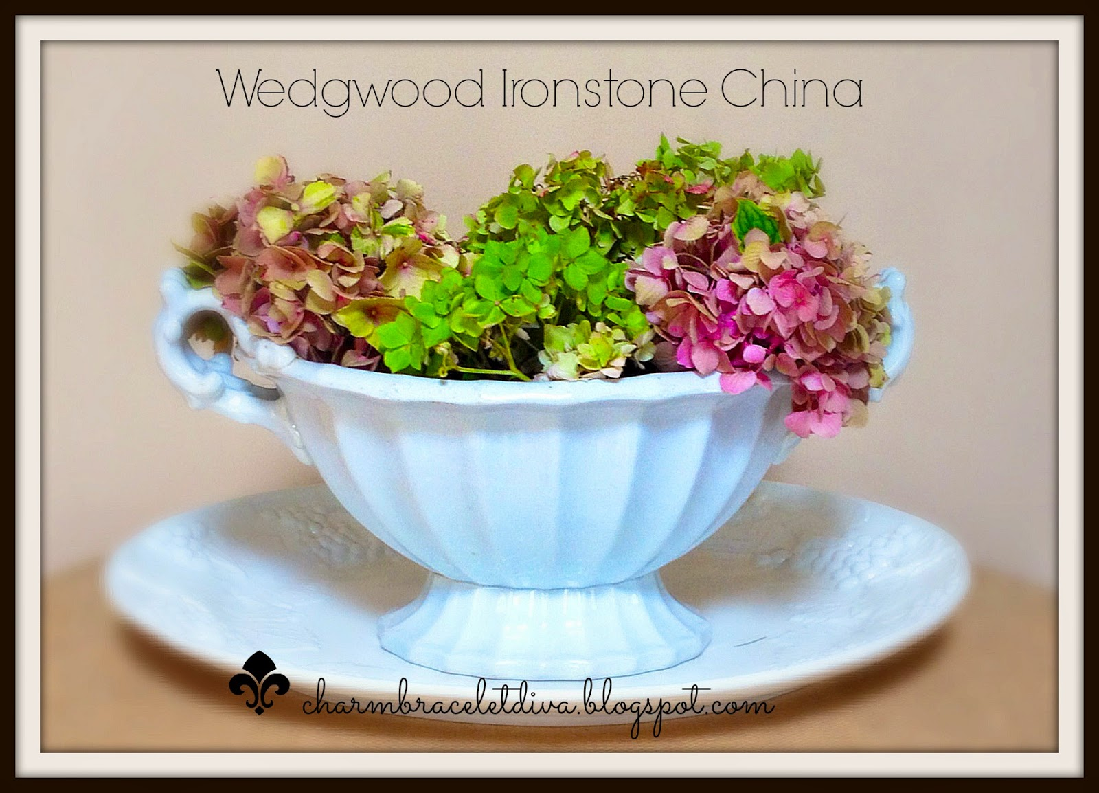 Vintage Wedgewood china tureens display fresh cut hydrangeas