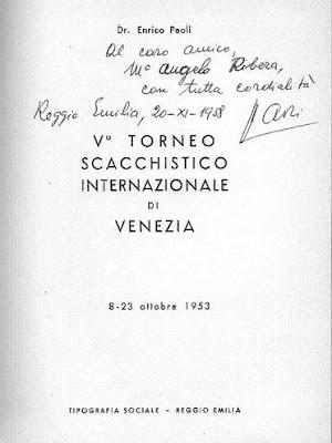 Primera página del libro de Enrico Paoli sobre el V Torneo Internacional de Ajedrez de Venecia 1953