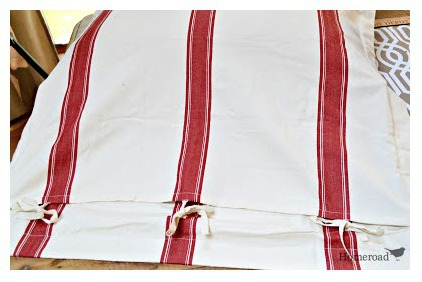 Designing a grain sack pillow for the bed
