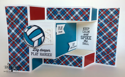 Our Daily Bread Designs Stamp/Die Duos: Volleyball, Custom Dies: Double Stitched Pennant Flags, Lattice Background, Tri-Shutter, Tri-Shutter Layers,  Paper Collection: Old Glory