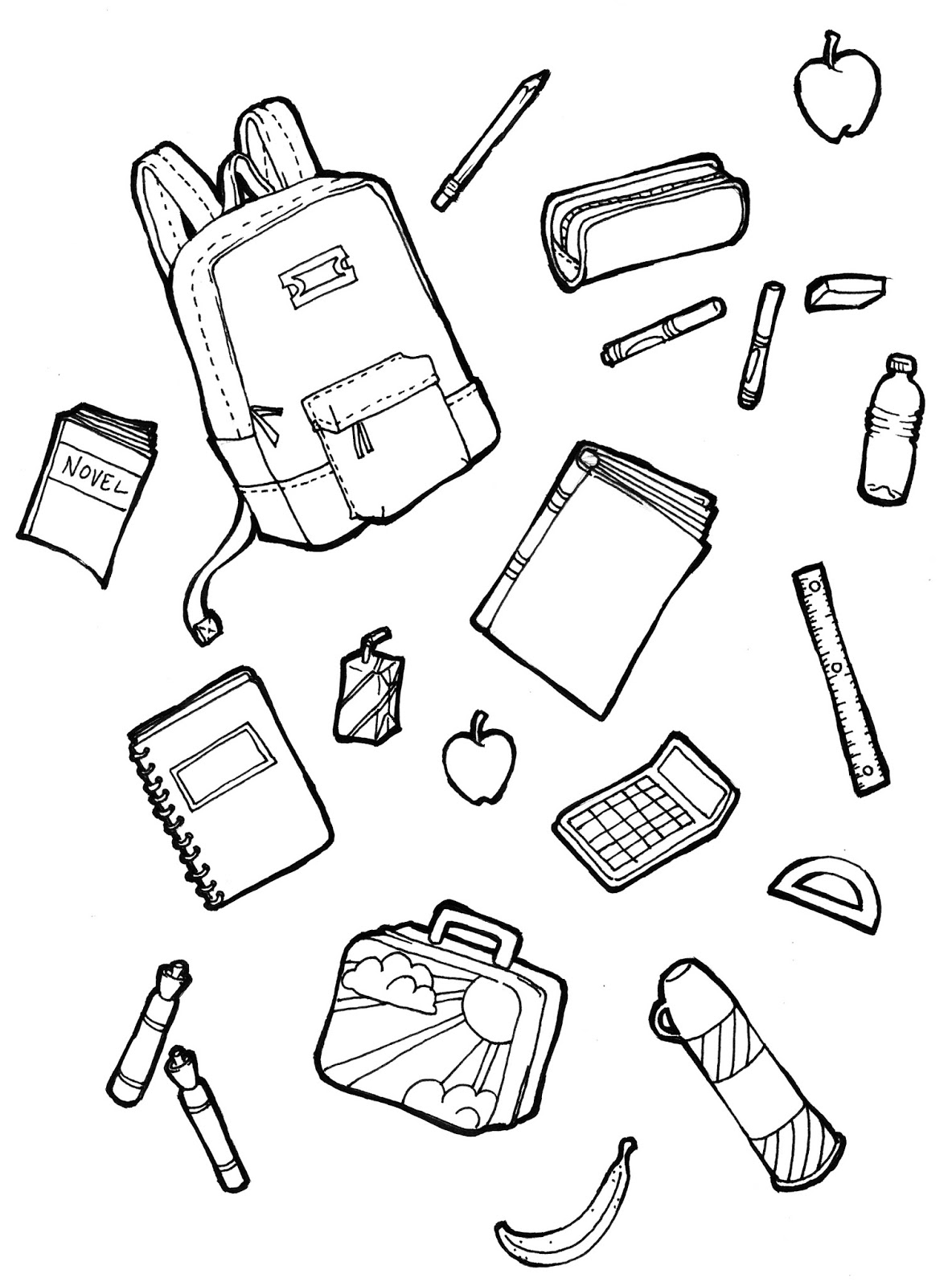 school stuff coloring pages - photo#4