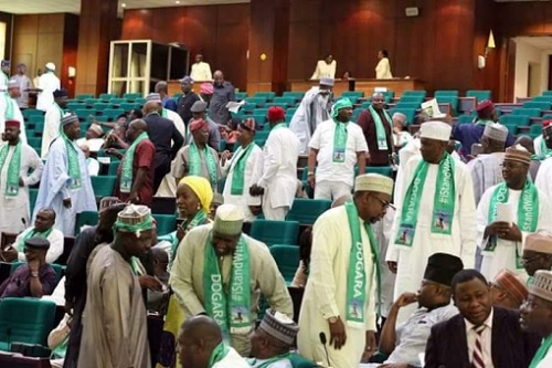 "Budget Padding: Shameless Reps Memebers Rocks ""I stand with Dogara"" Scarves To Pldge Loyalty, See Photos"