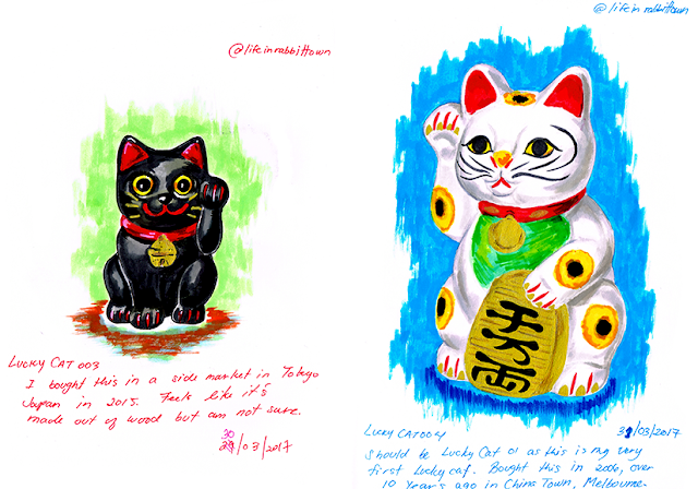 Maneki Nekos drawn by Marta Tesoro aka Rabbit Town Art