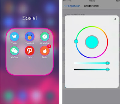 """A cool tweak is available in Cydia called """"BorderIcon+"""" by the creator """"pxcex"""" that allow users to color the border of icons, folders, badges and 3D Touch Menus on iPhone. Users can select their favorite color manually."""
