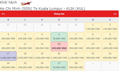 Vé máy bay đi Kuala Lumpur tháng 2 hãng Vietjet Air