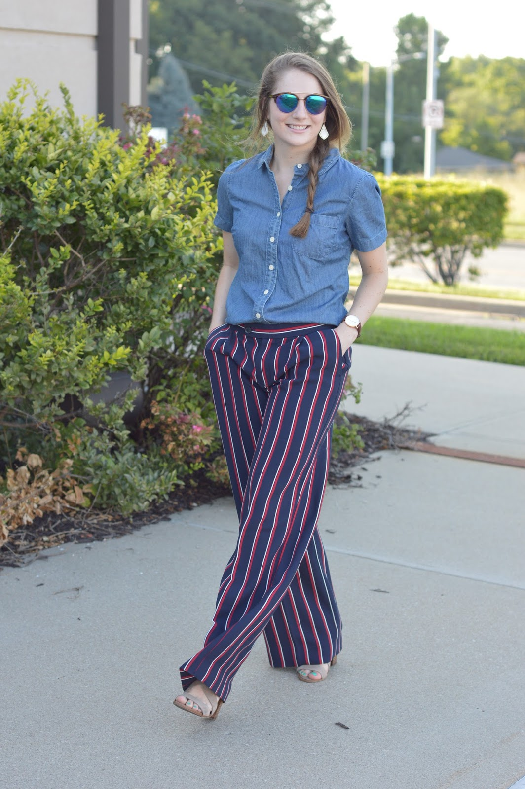 chambray top with dress pants for work | cute outfit ideas for work | business casual outfit ideas | what to wear to work this summer | how to wear striped dress pants | a memory of us