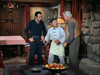 Hop Sing getting yelled at by Ben Cartwright (Lorne Greene) & Adam Cartwright (Pernell Roberts) for passing wind while still at the Ponderosa ... LoL