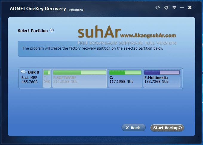 Download AOMEI OneKey Recovery Professional full serial key