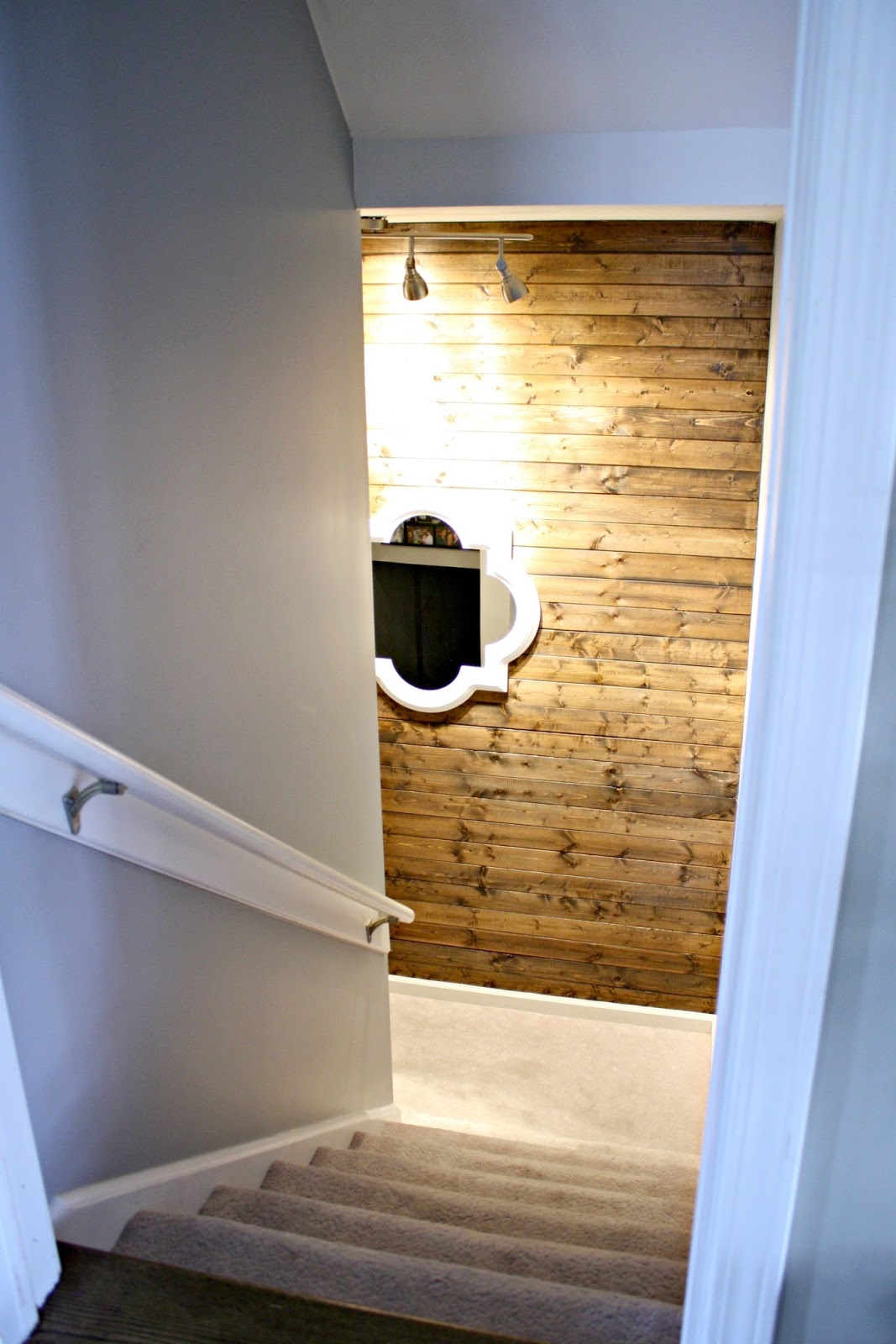 Wood planked wall on stairs