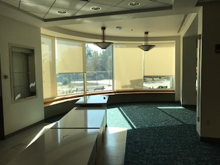 New motorized shades in the lounge area