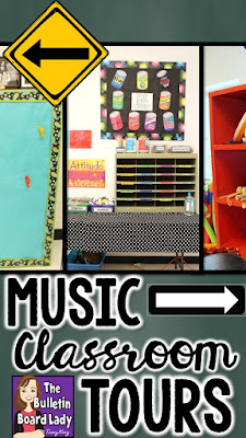 Music Classroom Tours: Tons of pictures of great music classrooms! Check out for decorating ideas, organization ideas for your music classroom, and more!