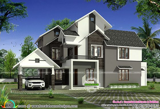 2850 sq-ft 4 bedroom modern sloped roof house