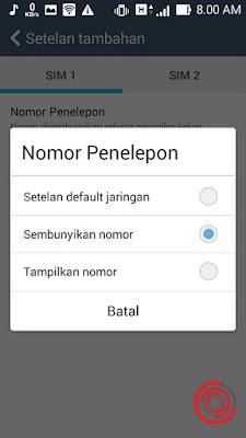 Terakhir kalian pilih Setelan default jaringan atau Tampilkan nomor untuk menonaktifkan nomor pribadi agar nomor kalian muncul saat menelpon sseorang. Jika ingin mengaktifkan nomor pribadi bisa pilih Sembunyikan nomor