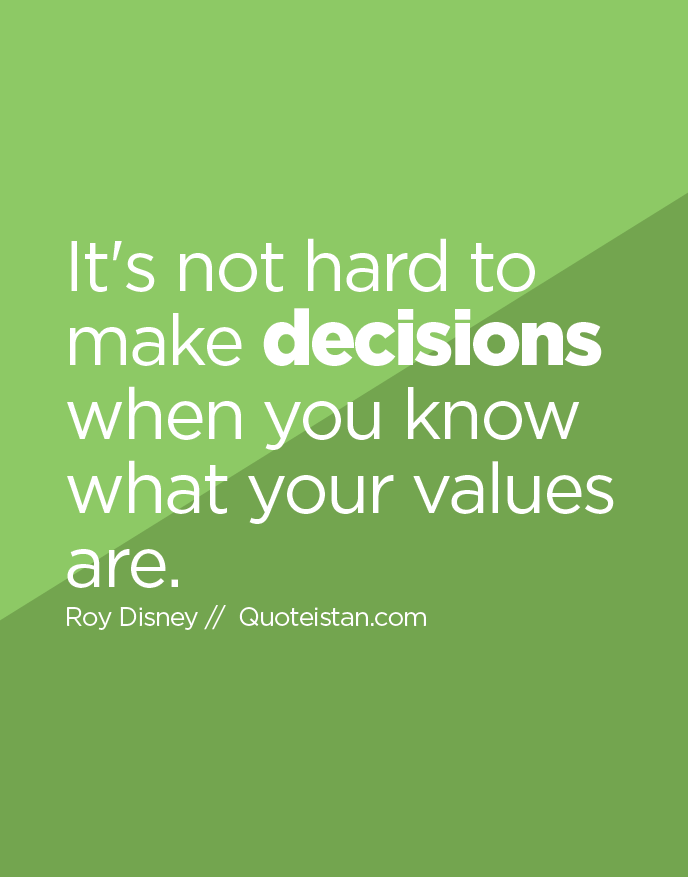 It's not hard to make decisions when you know what your values are.