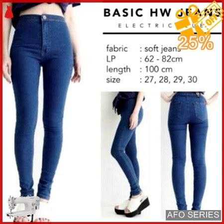 AFO094 Model Fashion HW Jeans Eelectric Blue Highwaist Murah BMGShop