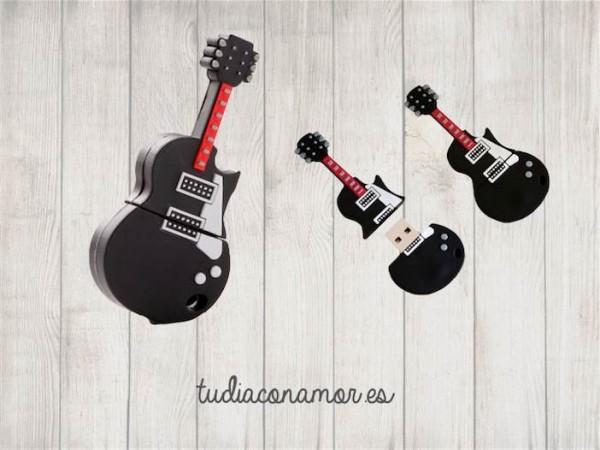 Memoria USB con forma de guitarra eléctrica, un gadget divertido y original para sorprender a vuestros invitados