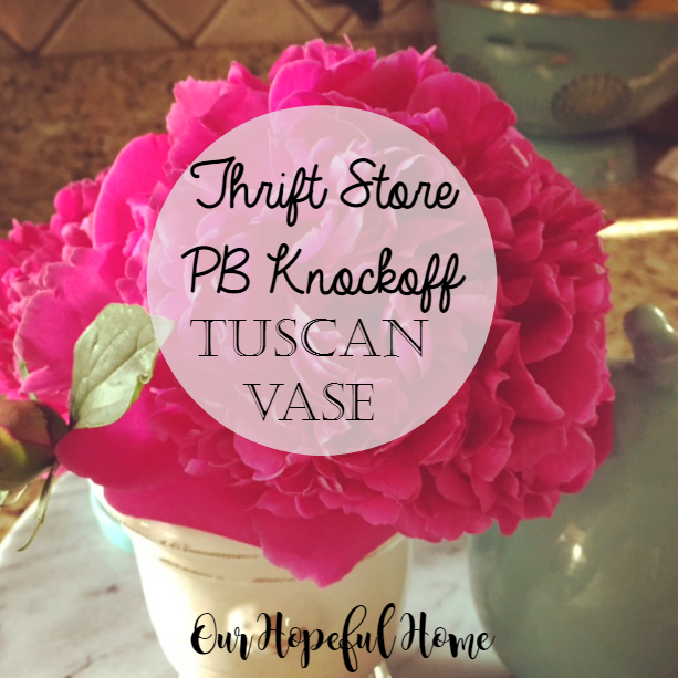 tuscan terra cotta vase PB knock-off thrift store find peonies Our Hopeful Home