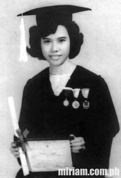 Sen. Miriam graduated with flying colors as magna cum laude in 1965.