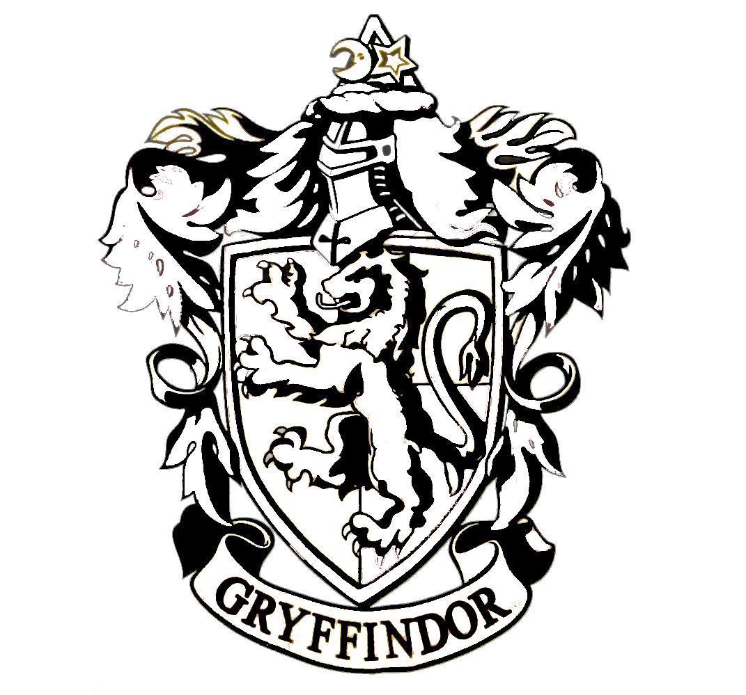 black and white gryffindor crest sketch template