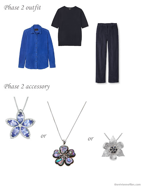 adding a pendant to a 4 by 4 Wardrobe in Navy with floral accents