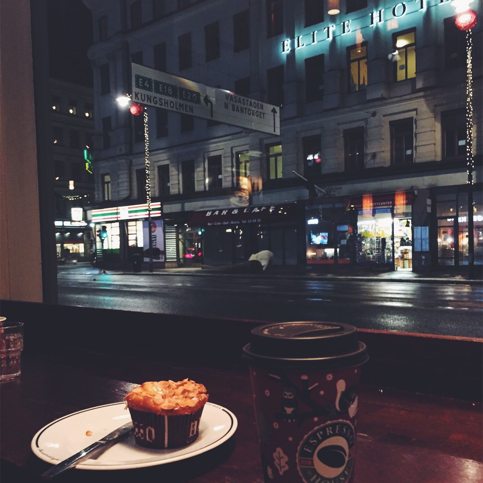 Coffee and Muffin at Espresso House in Stockholm