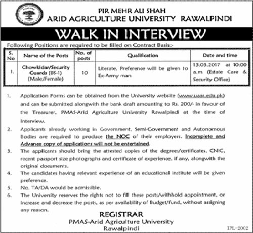 Jobs in Pir Mehar Ali Shah Arid Agriculture University 1 Mar 2017