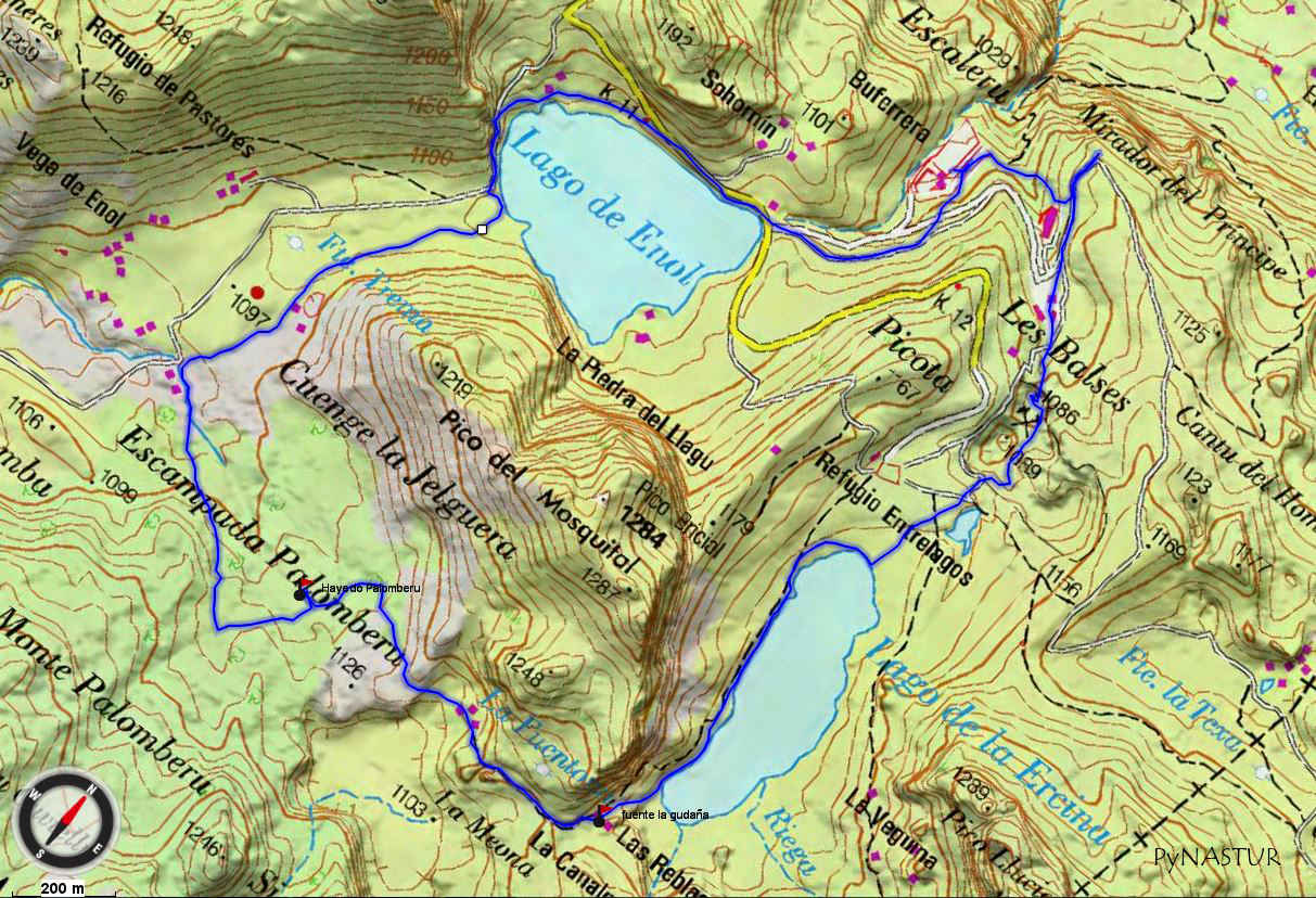 Mapa 1 topográfico Ruta circular a Los Lagos de Covadonga